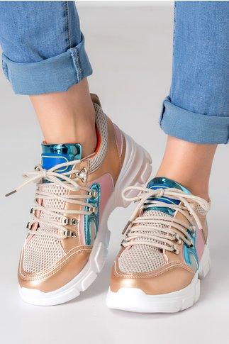 Pantofi sport sampanie cu detalii negre