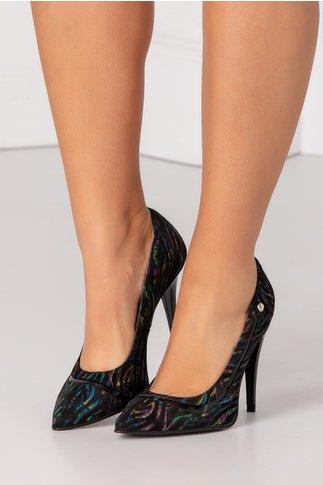 Pantofi stiletto negri cu imprimeuri colorate