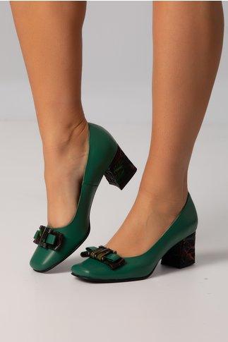 Pantofi verzi cu fundita si toc cu nervuri de frunze imprimate