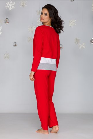 Pijama Christmas rosie cu imprimeu cizma
