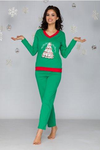 Pijama Christmas verde cu bordura rosie
