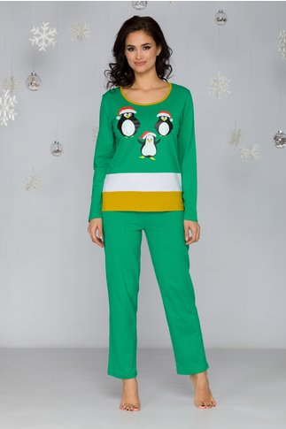 Pijama Christmas verde cu pinguini