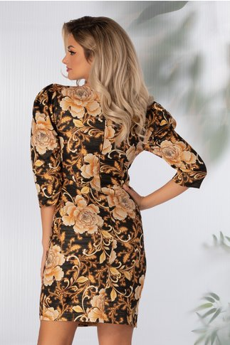 Rochia Leyla neagra tip sacou cu imprimeu floral galben mustar