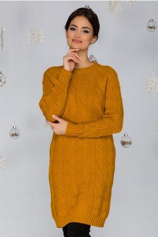 Rochia Tania galben mustar tricotata cu model impletit
