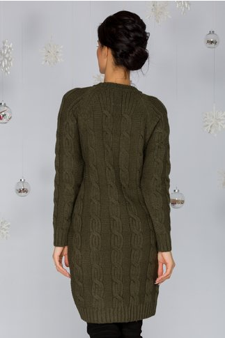 Rochia Tania kaki tricotata cu model impletit