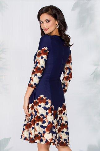 Rochie Adriana bleumarin cu imprimeu floral