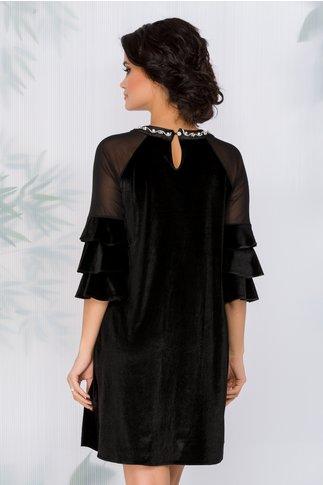 Rochie Agnes neagra din catifea cu strasuri si perle