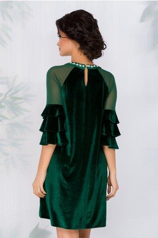 Rochie Agnes verde din catifea cu strasuri si perle