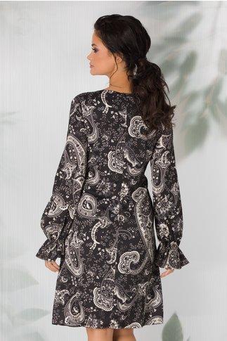 Rochie Aisha neagra cu imprimeuri florale stil mandala