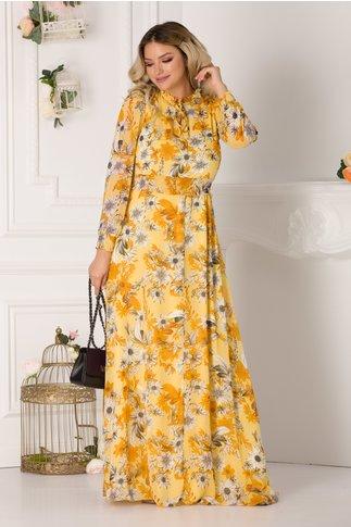 Rochie Alessandra vaporoasa galbena cu imprimeuri florale