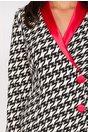 Rochie Alina cu imprimeu alb negru si rever rosu satinat