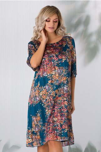 Rochie Alis albastru petrol cu imprimeu floral si lurex auriu