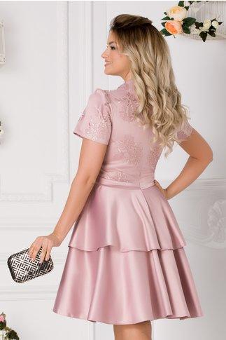 Rochie Alison roz prafuit cu dantela si tafta