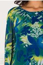 Rochie Aliss vaporoasa cu imprimeu vernil-albastru