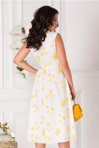 Rochie Anastasia alba cu imprimeu galben