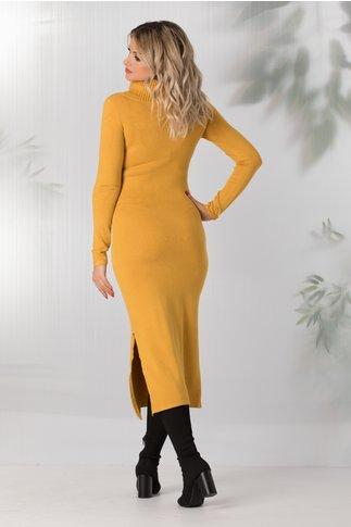 Rochie Andreea galben mustar tricotata cu guler maxi