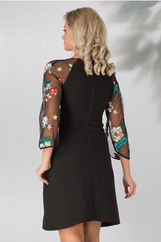 Rochie Andreia neagra cu maneci din tull si broderie florala multicolora