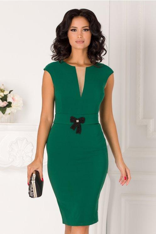 Rochie Anemona verde cu cordon in talie