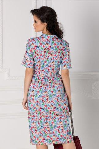 Rochie Aniela bleu cu imprimeu floral colorat