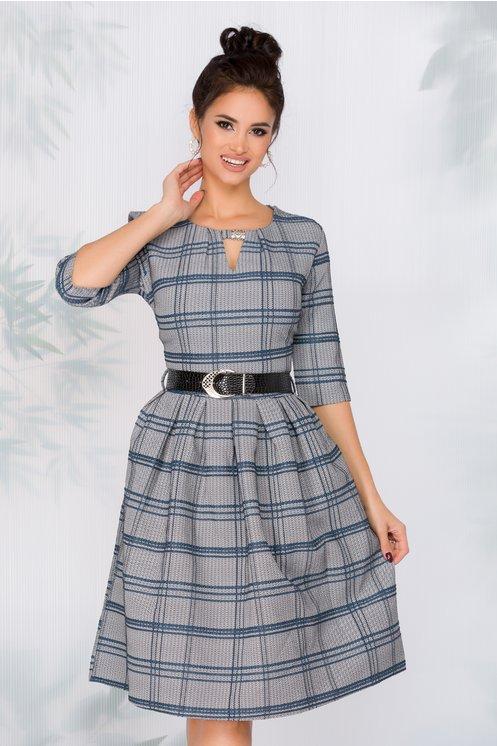 Rochie Aniela cu imprimeu in zig-zag si carouri bleu