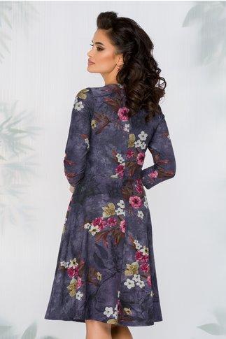 Rochie Anika mov inchis cu imprimeuri florale