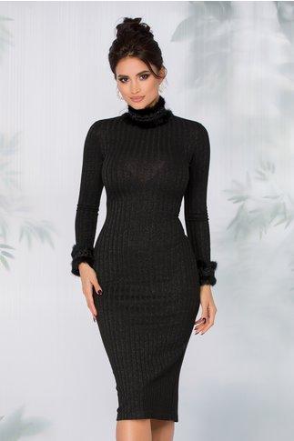 Rochie Anita neagra tricotata cu insertii brodate si puf