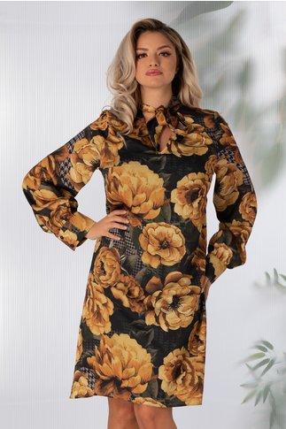 Rochie Anna neagra cu imprimeu floral galben