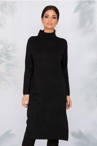 Rochie Aria neagra din tricot cu dungi in relief