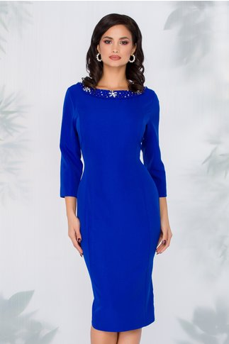 Rochie Ariadna albastra cu maneci trei sferturi si aplicatii la decolteu
