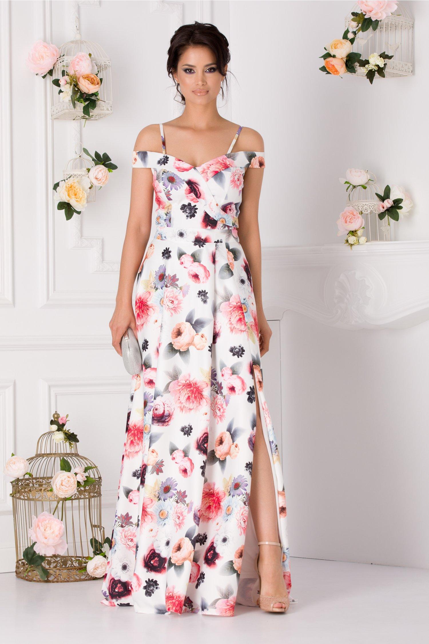 Rochie Ariana alba lunga cu imprimeu floral