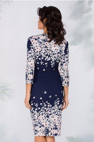 Rochie Ariana bleumarin cu imprimeu floral si peplum in talie