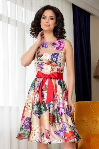 Rochie Artista bej cu imrpimeu floral colorat