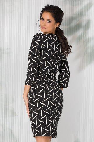 Rochie Aymi neagra cu imprimeu alb