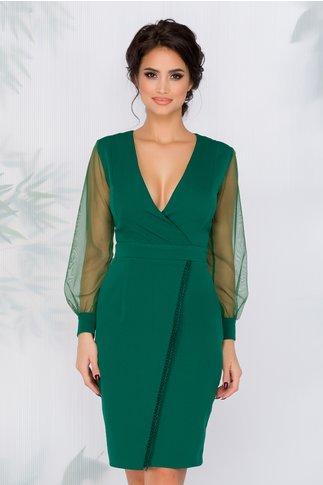 Rochie Bella verde cu design petrecut si maneci din tull