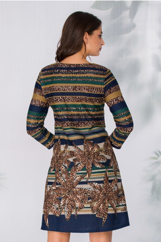 Rochie Camelia cu imprimeuri diverse in nuante tomnatice