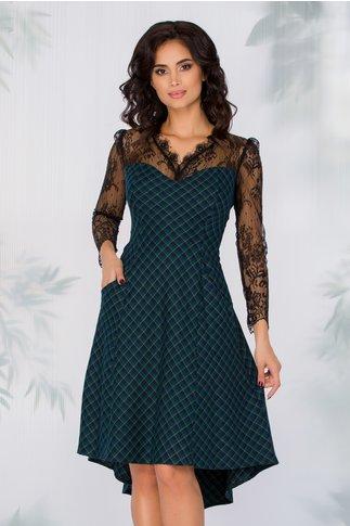 Rochie Camillah verde in carouri cu manecile din dantela neagra