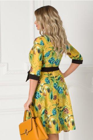 Rochie Cansi galben mustar cu imprimeu exotic si cordon negru