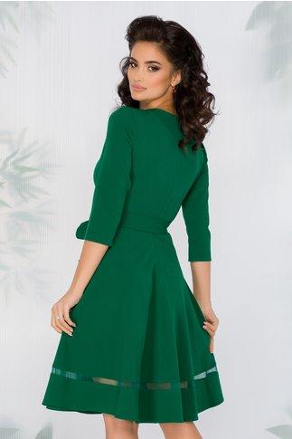 Rochie Carina verde cu aplicatii din broderie florala, strasuri si perlute