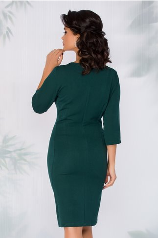 Rochie Carli verde inchis cu buzunare