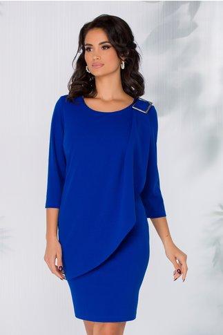 Rochie Carmina albastru inchis cu accesoriu tip catarama