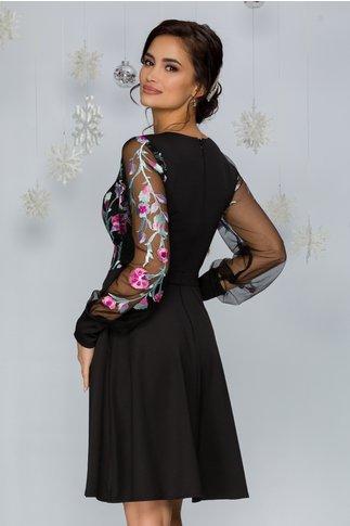 Rochie Carolina neagra cu broderie florala in nuante de gri si roz