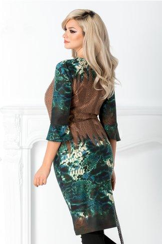 Rochie Cassie maro cu imprimeuri verzi