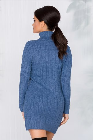 Rochie casual albastra cu textura raiata si guler inalt