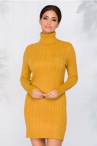 Rochie casual galben mustar cu textura raiata si guler inalt