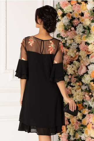Rochie Chrisa neagra cu broderie florala in nuante de auriu si rosu la umeri