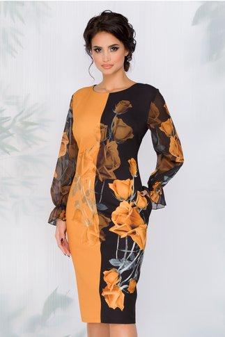 Rochie Clara negru cu galben mustar si imprimeu floral si maneci din voal