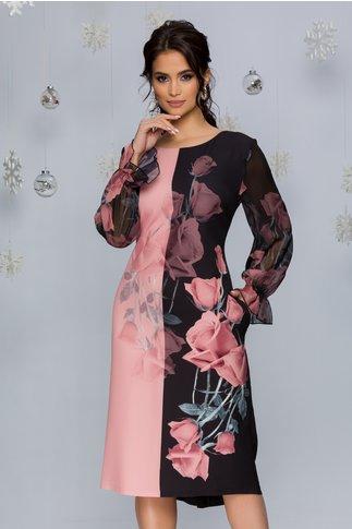 Rochie Clara negru cu roz si imprimeu floral si maneci din voal