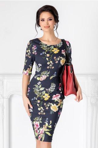 Rochie Corina bleumarin cu imprimeu floral colorat