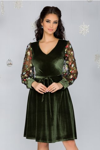 Rochie Cosmina kaki din catifea cu broderie florala verde la maneci