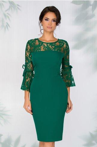 Rochie Crina verde cu dantela